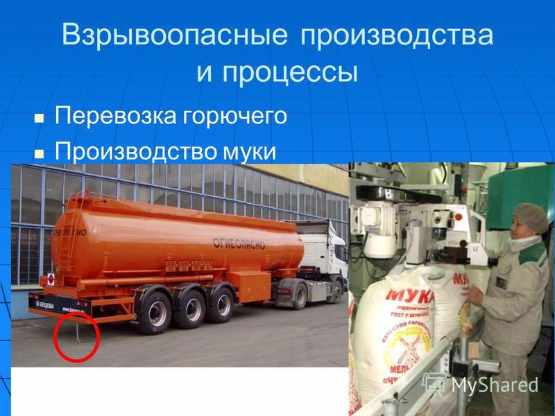 Взрывоопасные производства и процессы Перевозка горючего Производство муки