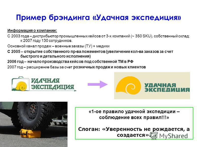 Пример брэндинга «Удачная экспедиция» «1-ое правило удачной экспедиции – соблюдение всех правил!!!» Слоган: «Уверенность не рождается, а создается». Информация о компании: С 2003 года – дистрибьютор промышленных кейсов от 3-х компаний (~ 350 SKU), со