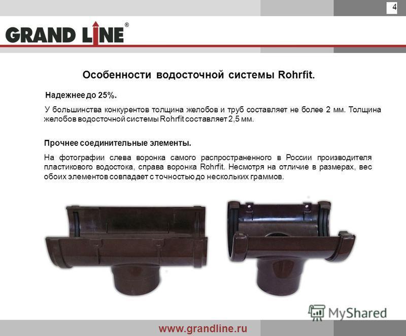 www.grandline.ru 4 Особенности водосточной системы Rohrfit. Надежнее до 25%. У большинства конкурентов толщина желобов и труб составляет не более 2 мм. Толщина желобов водосточной системы Rohrfit составляет 2,5 мм. Прочнее соединительные элементы. На