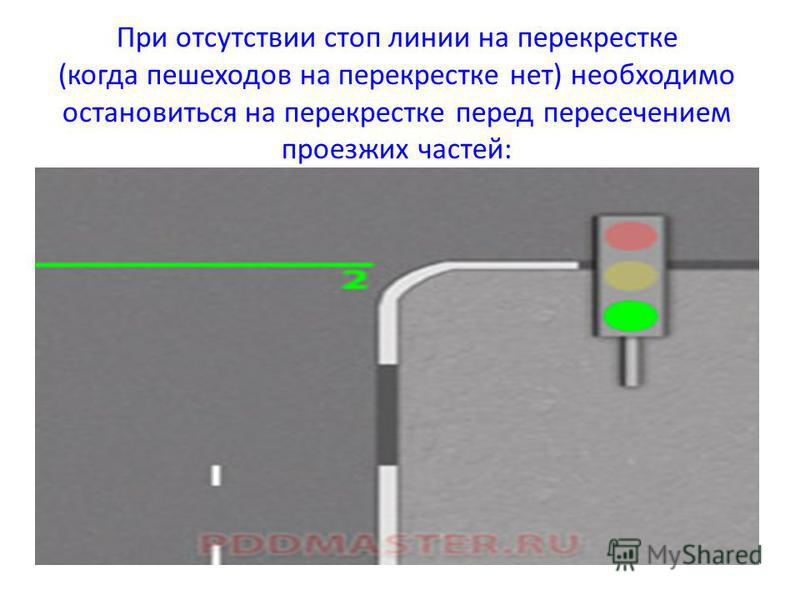 При отсутствии стоп линии на перекрестке (когда пешеходов на перекрестке нет) необходимо остановиться на перекрестке перед пересечением проезжих частей: