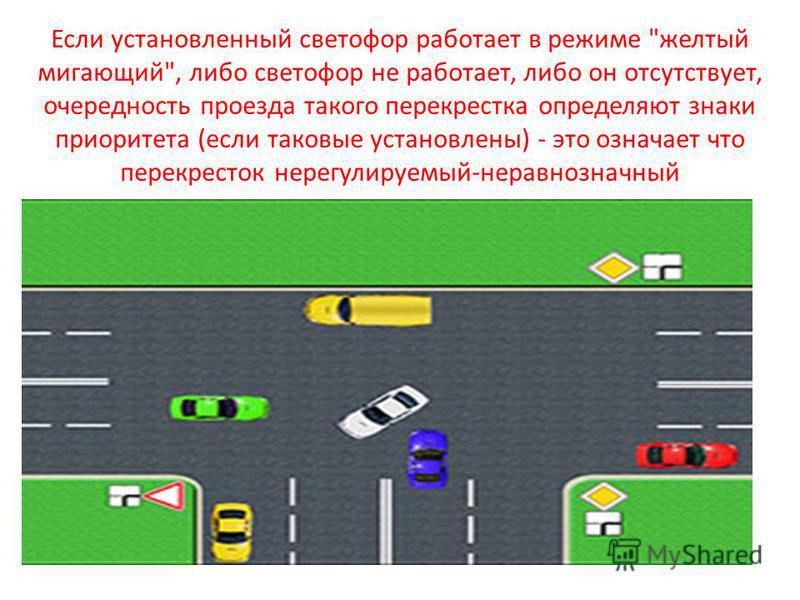Если установленный светофор работает в режиме