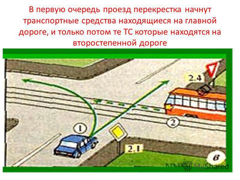 В первую очередь проезд перекрестка начнут транспортные средства находящиеся на главной дороге, и только потом те ТС которые находятся на второстепенной дороге