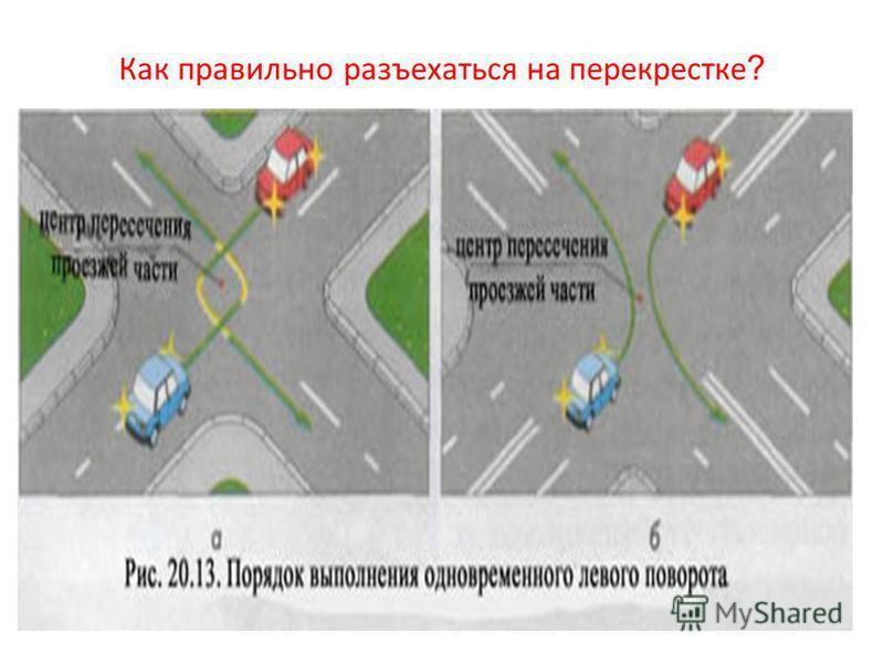 Как правильно разъехаться на перекрестке ?
