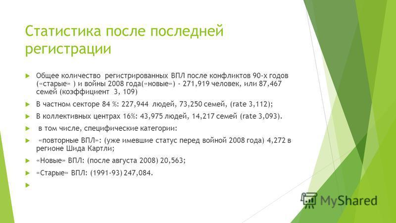 Статистика после последней регистрации Общее количество регистрированных ВПЛ после конфликтов 90-х годов («старые» ) и войны 2008 года(«новые») - 271,919 человек, или 87,467 семей (коэффициент 3, 109) В частном секторе 84 %: 227,944 людей, 73,250 сем