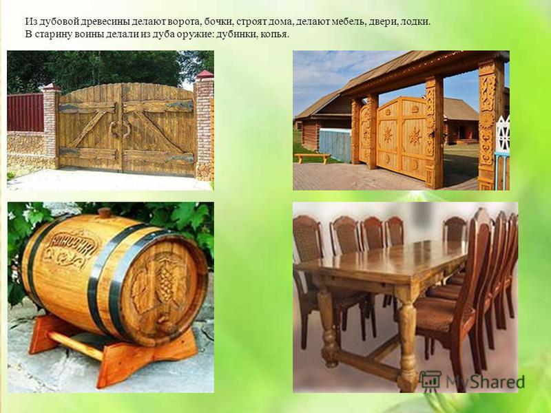 Из дубовой древесины делают ворота, бочки, строят дома, делают мебель, двери, лодки. В старину воины делали из дуба оружие: дубинки, копья.