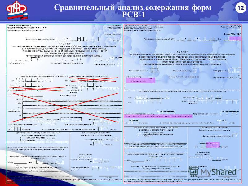Сравнительный анализ содержания форм РСВ-1 12