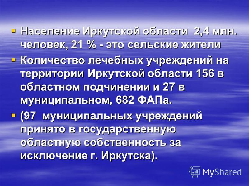 Население Иркутской области 2,4 млн. человек, 21 % - это сельские жители Население Иркутской области 2,4 млн. человек, 21 % - это сельские жители Количество лечебных учреждений на территории Иркутской области 156 в областном подчинении и 27 в муницип