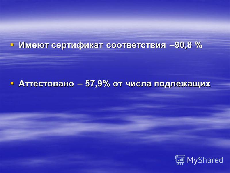 Имеют сертификат соответствия –90,8 % Имеют сертификат соответствия –90,8 % Аттестовано – 57,9% от числа подлежащих Аттестовано – 57,9% от числа подлежащих