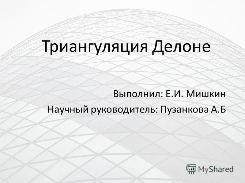 Триангуляция Делоне Выполнил: Е.И. Мишкин Научный руководитель: Пузанкова А.Б