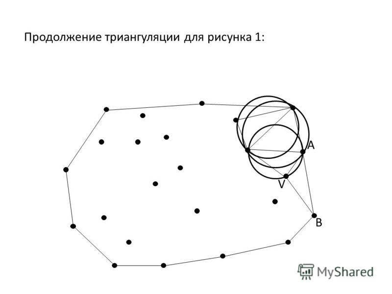 Продолжение триангуляции для рисунка 1: A B V