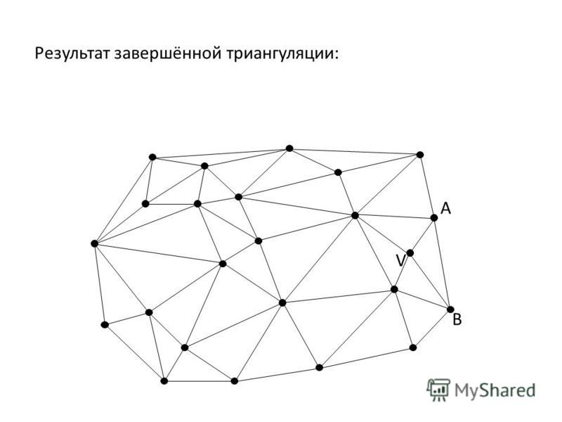 Результат завершённой триангуляции: A B V
