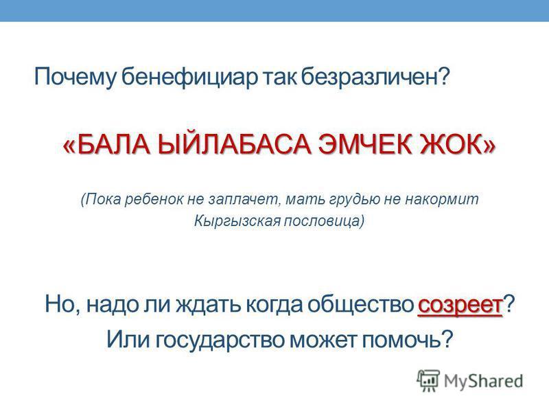 Почему бенефициар так безразличен? «БАЛА ЫЙЛАБАСА ЭМЧЕК ЖОК» (Пока ребенок не заплачет, мать грудью не накормит Кыргызская пословица) созреет Но, надо ли ждать когда общество созреет? Или государство может помочь?