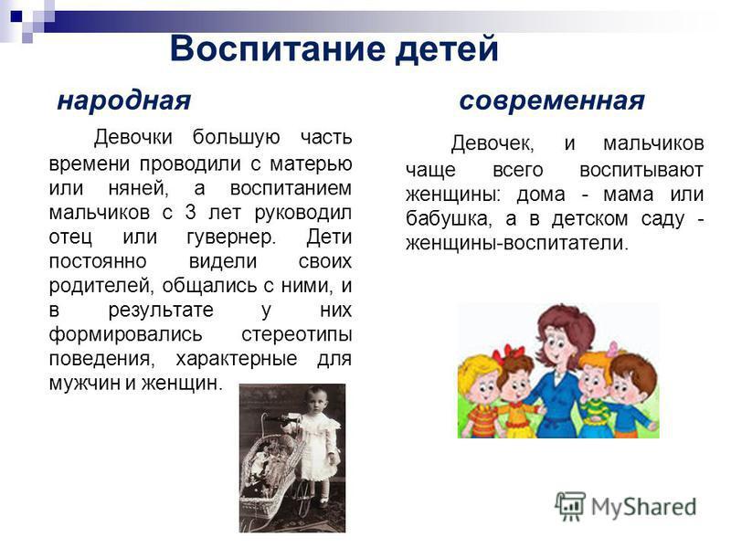 Воспитание детей народная современная Девочки большую часть времени проводили с матерью или няней, а воспитанием мальчиков с 3 лет руководил отец или гувернер. Дети постоянно видели своих родителей, общались с ними, и в результате у них формировались