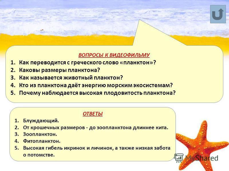 ВОПРОСЫ К ВИДЕОФИЛЬМУ 1. Как переводится с греческого слово «планктон»? 2. Каковы размеры планктона? 3. Как называется животный планктон? 4. Кто из планктона даёт энергию морским экосистемам? 5. Почему наблюдается высокая плодовитость планктона? ОТВЕ