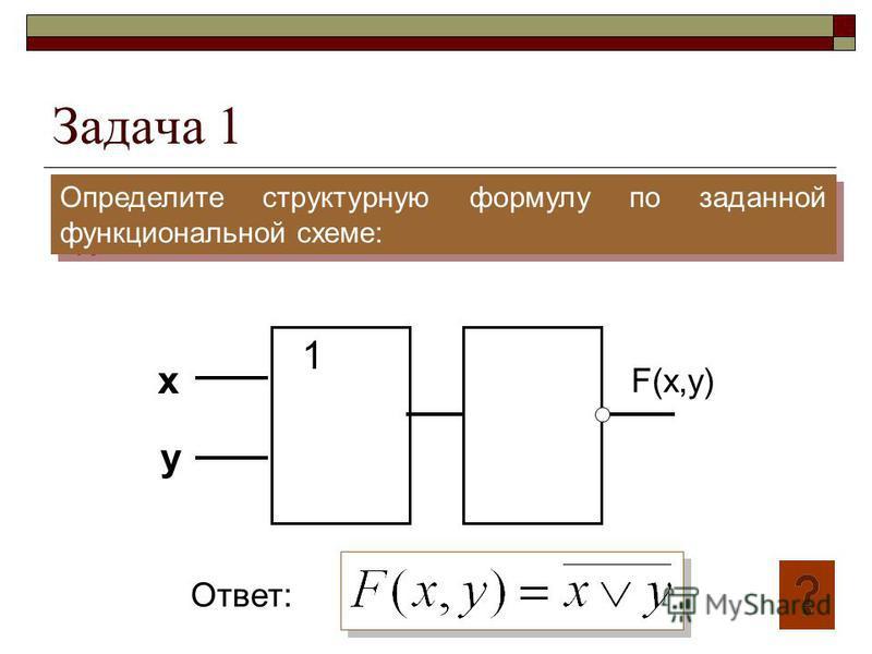 Задача 1 Определите структурную формулу по заданной функциональной схеме: 1 x y F(x,y) Ответ: