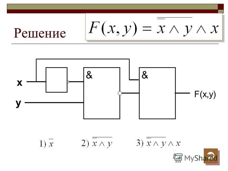 Решение x y && F(x,y)
