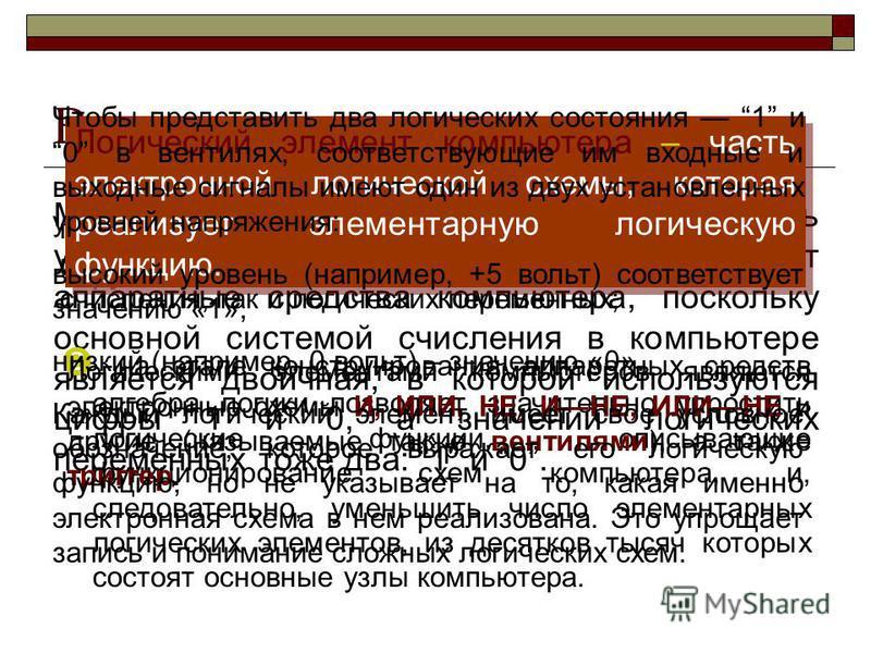 Козырева И. Н., МОУ СОШ 4 п. Харп ЯНАО Математический аппарат алгебры логики очень удобен для описания того, как функционируют аппаратные средства компьютера, поскольку основной системой счисления в компьютере является двоичная, в которой используютс