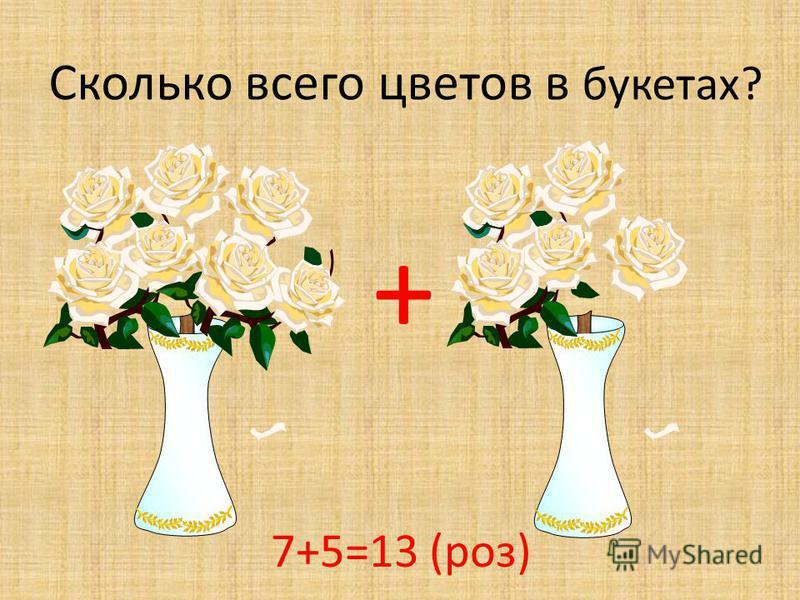 + Сколько всего цветов в букетах? 7+5=13 (роз)