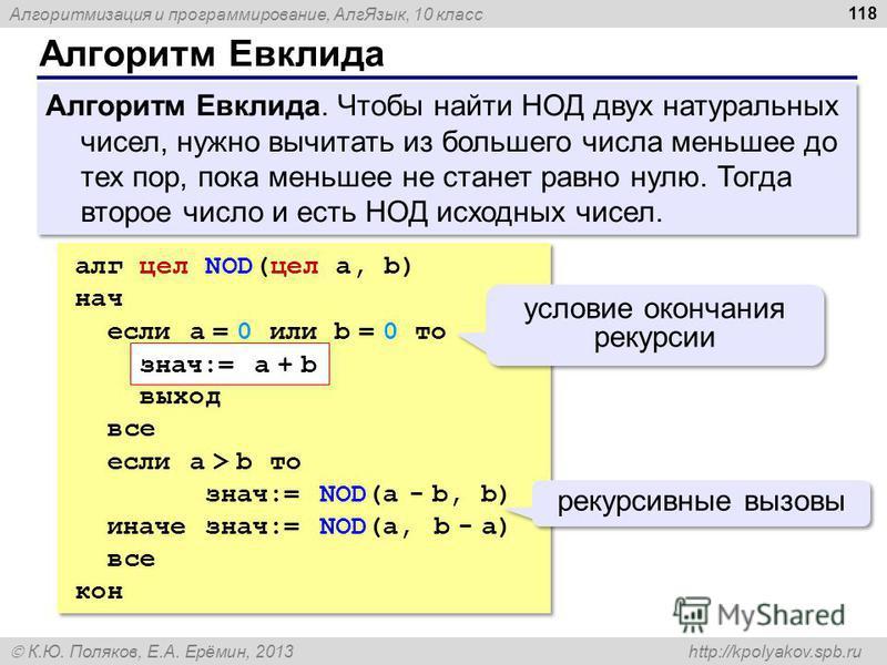 Алгоритмизация и программирование, Алг Язык, 10 класс К.Ю. Поляков, Е.А. Ерёмин, 2013 http://kpolyakov.spb.ru Алгоритм Евклида 118 Алгоритм Евклида. Чтобы найти НОД двух натуральных чисел, нужно вычитать из большего числа меньшее до тех пор, пока мен