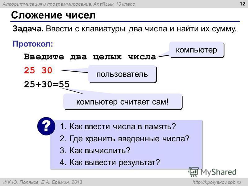 Алгоритмизация и программирование, Алг Язык, 10 класс К.Ю. Поляков, Е.А. Ерёмин, 2013 http://kpolyakov.spb.ru Сложение чисел 12 Задача. Ввести с клавиатуры два числа и найти их сумму. Протокол: Введите два целых числа 25 30 25+30=55 компьютер пользов
