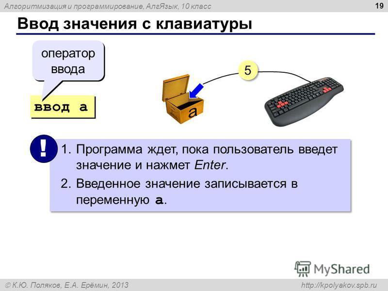 Алгоритмизация и программирование, Алг Язык, 10 класс К.Ю. Поляков, Е.А. Ерёмин, 2013 http://kpolyakov.spb.ru Ввод значения с клавиатуры 19 ввод a 1. Программа ждет, пока пользователь введет значение и нажмет Enter. 2. Введенное значение записывается