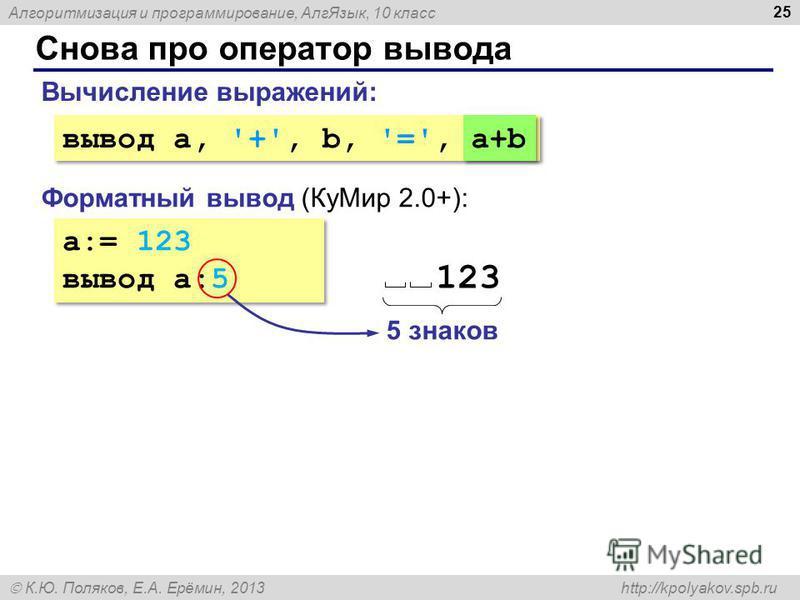 Алгоритмизация и программирование, Алг Язык, 10 класс К.Ю. Поляков, Е.А. Ерёмин, 2013 http://kpolyakov.spb.ru Снова про оператор вывода 25 a:= 123 вывод a:5 a:= 123 вывод a:5 Форматный вывод (Ку Мир 2.0+): Вычисление выражений: вывод a, '+', b, '=',