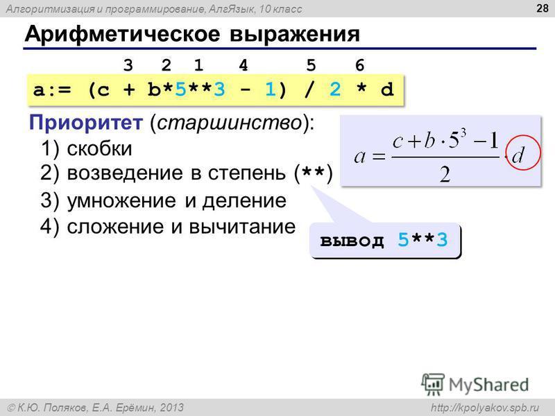Алгоритмизация и программирование, Алг Язык, 10 класс К.Ю. Поляков, Е.А. Ерёмин, 2013 http://kpolyakov.spb.ru Арифметическое выражения 28 a:= (c + b*5**3 - 1) / 2 * d Приоритет (старшинство): 1)скобки 2)возведение в степень ( ** ) 3)умножение и делен