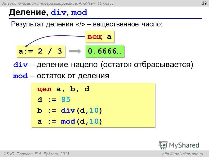 Алгоритмизация и программирование, Алг Язык, 10 класс К.Ю. Поляков, Е.А. Ерёмин, 2013 http://kpolyakov.spb.ru Деление, div, mod 29 Результат деления «/» – вещественное число: a:= 2 / 3 вещ a 0.6666… div – деление нацело (остаток отбрасывается) mod –