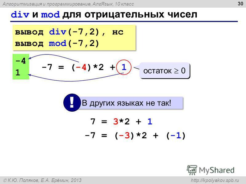 Алгоритмизация и программирование, Алг Язык, 10 класс К.Ю. Поляков, Е.А. Ерёмин, 2013 http://kpolyakov.spb.ru div и mod для отрицательных чисел 30 вывод div(-7,2), нс вывод mod(-7,2) вывод div(-7,2), нс вывод mod(-7,2) -4 1 -7 = (-4)*2 + 1 остаток 0