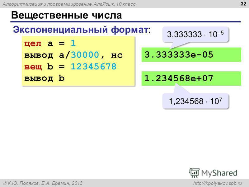 Алгоритмизация и программирование, Алг Язык, 10 класс К.Ю. Поляков, Е.А. Ерёмин, 2013 http://kpolyakov.spb.ru Вещественные числа 32 Экспоненциальный формат: цел a = 1 вывод a/30000, нс вещ b = 12345678 вывод b цел a = 1 вывод a/30000, нс вещ b = 1234