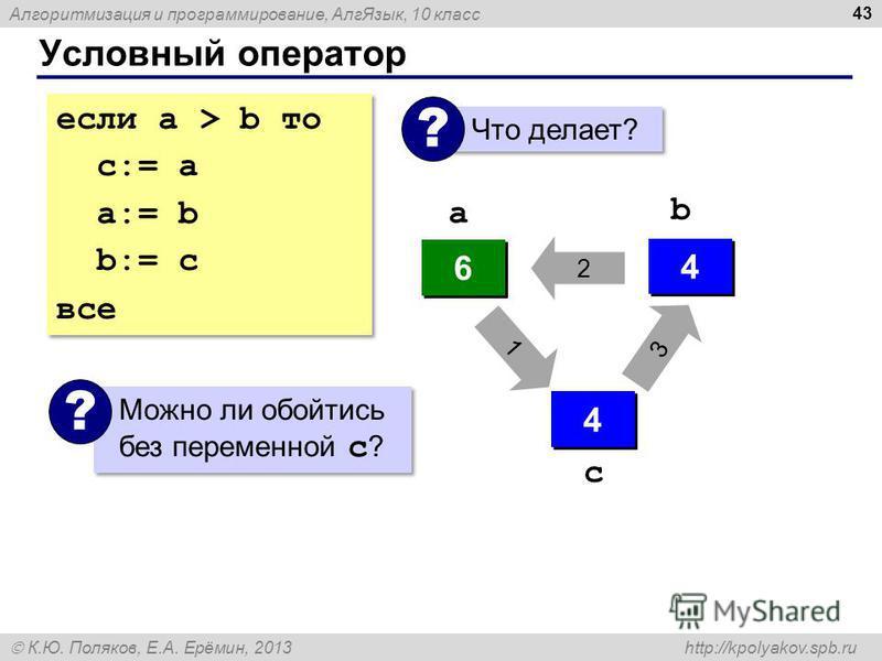 Алгоритмизация и программирование, Алг Язык, 10 класс К.Ю. Поляков, Е.А. Ерёмин, 2013 http://kpolyakov.spb.ru Условный оператор 43 если a > b то с:= a a:= b b:= c все если a > b то с:= a a:= b b:= c все Что делает? ? 4 4 6 6 ? ? 4 4 6 6 4 4 a b 3 2 1