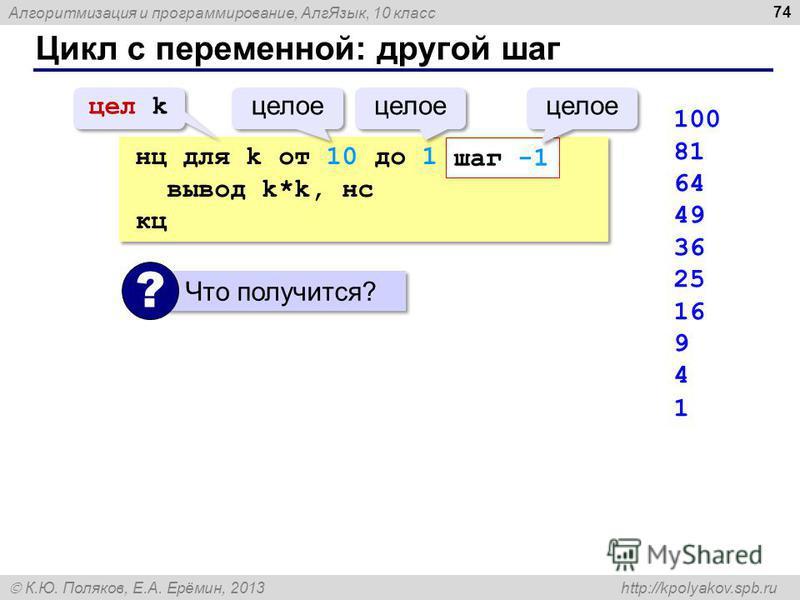 Алгоритмизация и программирование, Алг Язык, 10 класс К.Ю. Поляков, Е.А. Ерёмин, 2013 http://kpolyakov.spb.ru Цикл с переменной: другой шаг 74 нц для k от 10 до 1 вывод k*k, нс кц нц для k от 10 до 1 вывод k*k, нс кц шаг -1 цел k целое 100 81 64 49 3