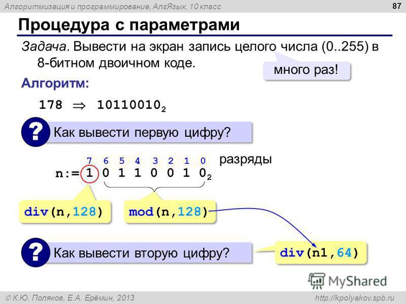 Алгоритмизация и программирование, Алг Язык, 10 класс К.Ю. Поляков, Е.А. Ерёмин, 2013 http://kpolyakov.spb.ru Процедура с параметрами 87 Задача. Вывести на экран запись целого числа (0..255) в 8-битном двоичном коде. много раз! Алгоритм: 178 10110010