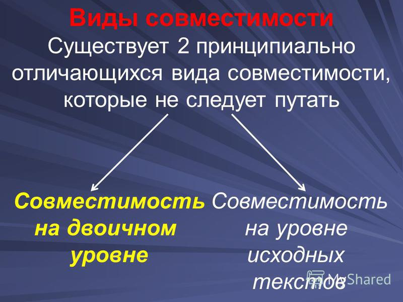 Виды совместимости Существует 2 принципиально отличающихся вида совместимости, которые не следует путать Совместимость на двоичном уровне Совместимость на уровне исходных текстов