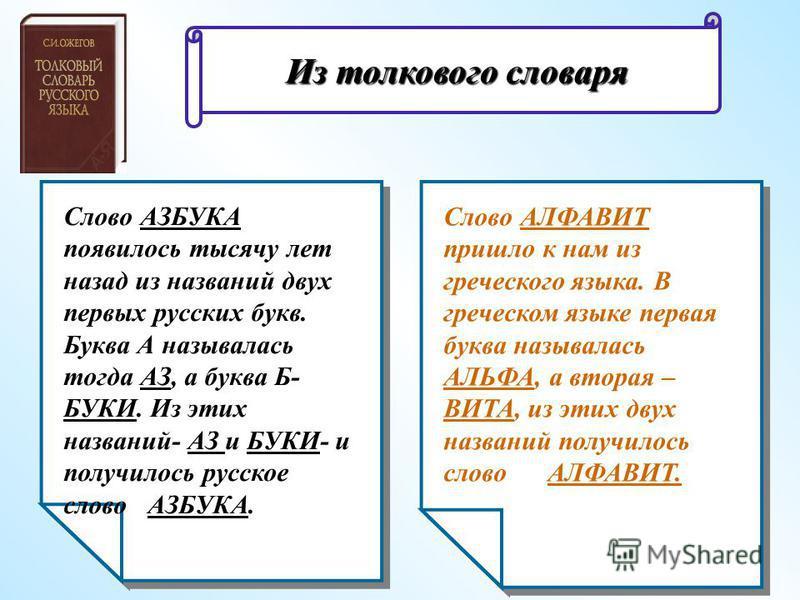 Слово АЗБУКА появилось тысячу лет назад из названий двух первых русских букв. Буква А называлась тогда АЗ, а буква Б- БУКИ. Из этих названий- АЗ и БУКИ- и получилось русское слово АЗБУКА. Слово АЛФАВИТ пришло к нам из греческого языка. В греческом яз