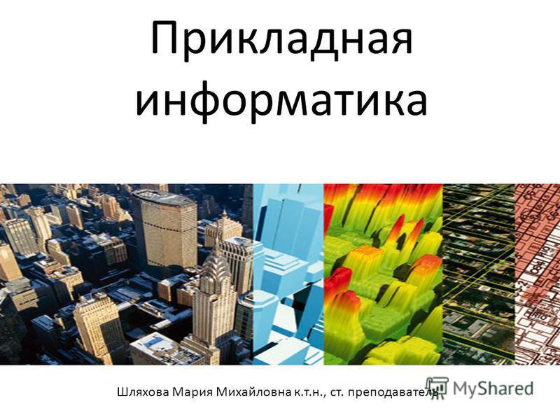 Прикладная информатика Шляхова Мария Михайловна к.т.н., ст. преподаватель