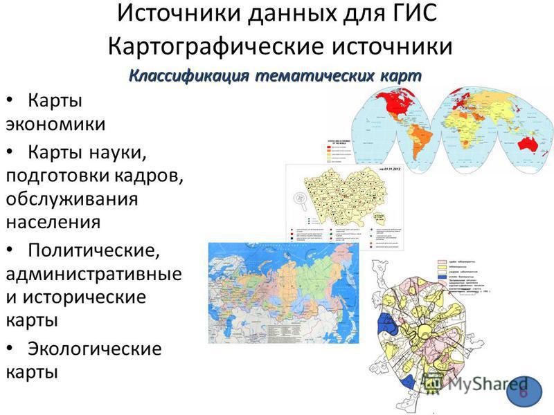 Источники данных для ГИС Картографические источники Карты экономики Карты науки, подготовки кадров, обслуживания населения Политические, административные и исторические карты Экологические карты Классификация тематических карт 6