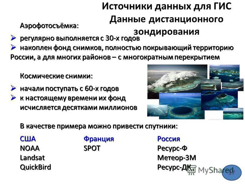 Источники данных для ГИС Данные дистанционного зондирования Аэрофотосъёмка: регулярно выполняется с 30-х годов регулярно выполняется с 30-х годов накоплен фонд снимков, полностью покрывающий территорию России, а для многих районов – с многократным пе