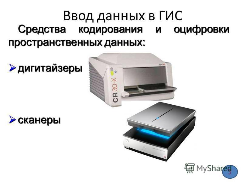 Ввод данных в ГИС Средства кодирования и оцифровки пространственных данных: дигитайзеры дигитайзеры сканеры сканеры 3
