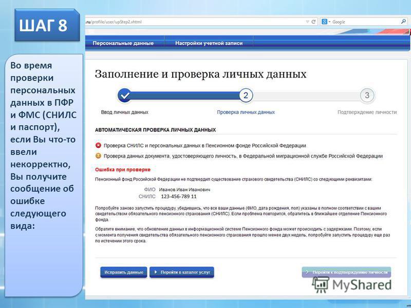 ШАГ 8 Во время проверки персональных данных в ПФР и ФМС (СНИЛС и паспорт), если Вы что-то ввели некорректно, Вы получите сообщение об ошибке следующего вида:
