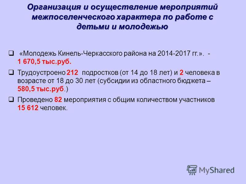 Организация и осуществление мероприятий межпоселенческого характера по работе с детьми и молодежью «Молодежь Кинель-Черкасского района на 2014-2017 гг.». - 1 670,5 тыс.руб. Трудоустроено 212 подростков (от 14 до 18 лет) и 2 человека в возрасте от 18