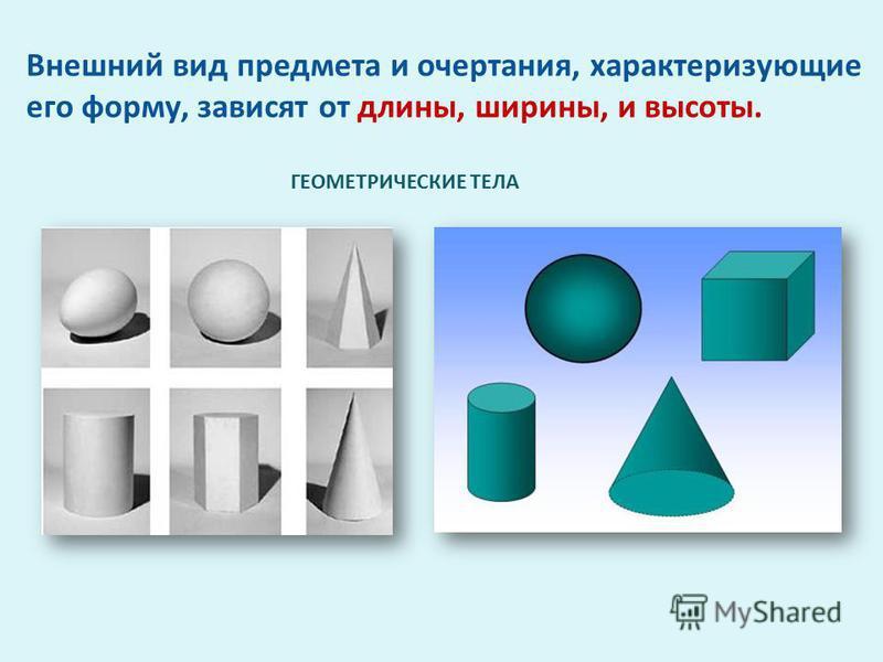 ГЕОМЕТРИЧЕСКИЕ ТЕЛА Внешний вид предмета и очертания, характеризующие его форму, зависят от длины, ширины, и высоты.