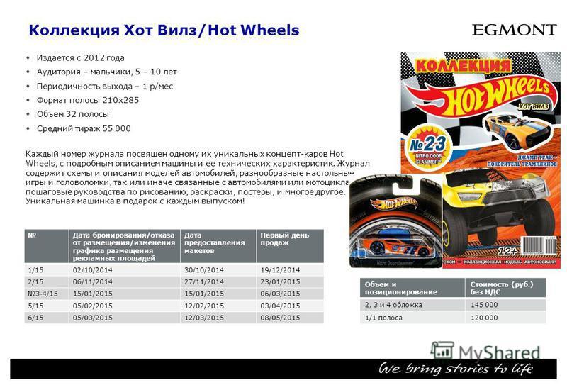 Коллекция Хот Вилз/Hot Wheels Издается с 2012 года Аудитория – мальчики, 5 – 10 лет Периодичность выхода – 1 р/мес Формат полосы 210 х 285 Объем 32 полосы Средний тираж 55 000 Каждый номер журнала посвящен одному их уникальных концепт-каров Hot Wheel
