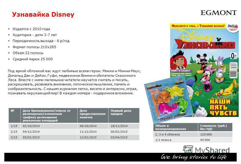 Узнавайка Disney Издается с 2010 года Аудитория дети 3-7 лет Периодичность выхода 6 р/год Формат полосы 210 х 285 Объем 32 полосы Средний тираж 25 000 Под яркой обложкой вас ждут любимые всеми герои: Микки и Минни Маус, Дональд Дак и Дейзи, Гуфи, мед