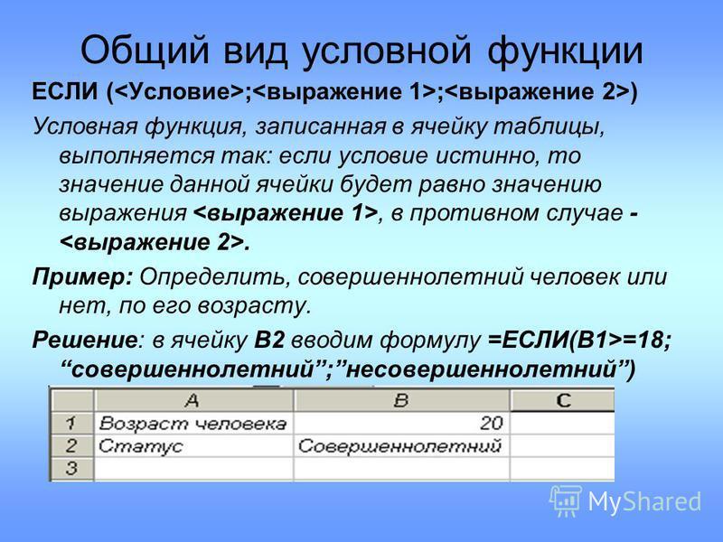 Общий вид условной функции ЕСЛИ ( ; ; ) Условная функция, записанная в ячейку таблицы, выполняется так: если условие истинно, то значение данной ячейки будет равно значению выражения, в противном случае -. Пример: Определить, совершеннолетний человек