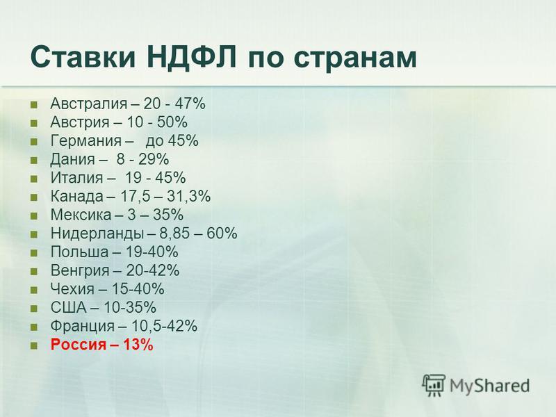 Ставки НДФЛ по странам Австралия – 20 - 47% Австрия – 10 - 50% Германия – до 45% Дания – 8 - 29% Италия – 19 - 45% Канада – 17,5 – 31,3% Мексика – 3 – 35% Нидерланды – 8,85 – 60% Польша – 19-40% Венгрия – 20-42% Чехия – 15-40% США – 10-35% Франция –