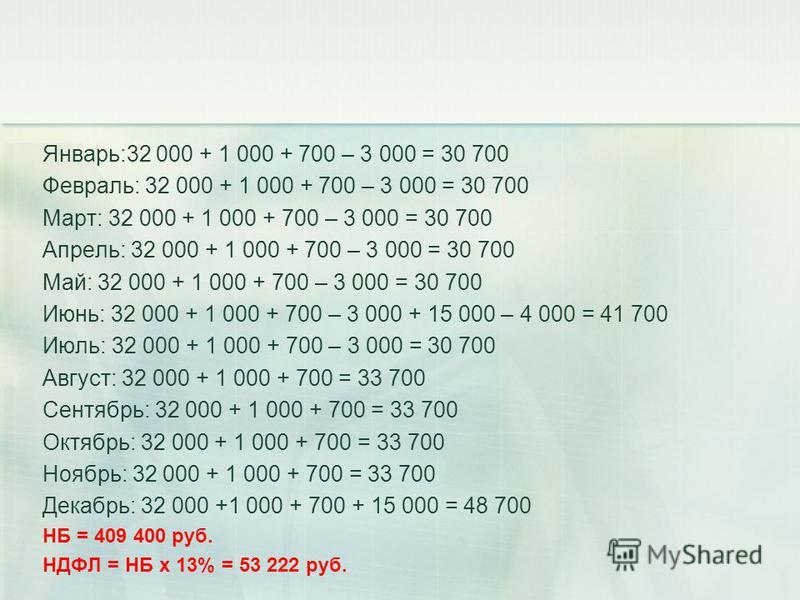 Январь:32 000 + 1 000 + 700 – 3 000 = 30 700 Февраль: 32 000 + 1 000 + 700 – 3 000 = 30 700 Март: 32 000 + 1 000 + 700 – 3 000 = 30 700 Апрель: 32 000 + 1 000 + 700 – 3 000 = 30 700 Май: 32 000 + 1 000 + 700 – 3 000 = 30 700 Июнь: 32 000 + 1 000 + 70