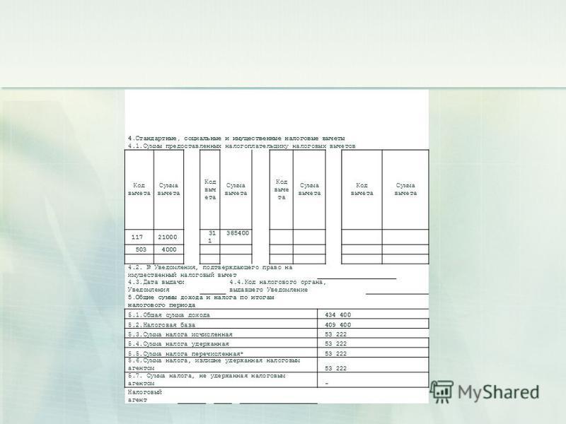 4.Стандартные, социальные и имущественные налоговые вычеты 4.1. Суммы предоставленных налогоплательщику налоговых вычетов Код вычета Сумма вычета Код выч ета Сумма вычета Код выче та Сумма вычета Код вычета Сумма вычета 117 21000 31 1 385400 5034000