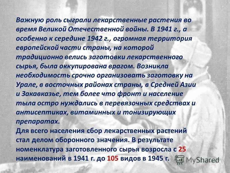 Важную роль сыграли лекарственные растения во время Великой Отечественной войны. В 1941 г., а особенно к середине 1942 г., огромная территория европейской части страны, на которой традиционно велись заготовки лекарственного сырья, была оккупирована в