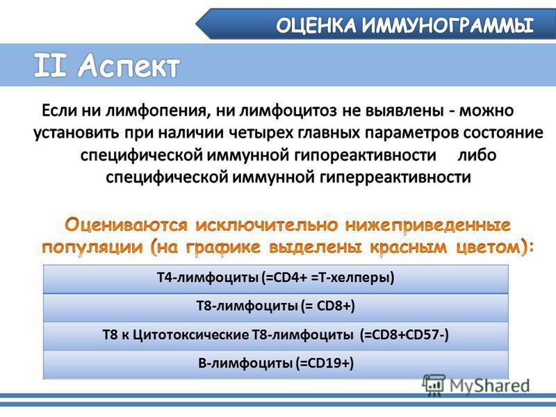 Т4-лимфоциты (=CD4+ =Т-хелперы) Т8-лимфоциты (= CD8+) Т8 к Цитотоксические Т8-лимфоциты (=CD8+CD57-) В-лимфоциты (=CD19+)
